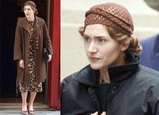 Photos of Kate Winslet in 1940s costume on the set of Mildred Pierce in New York City