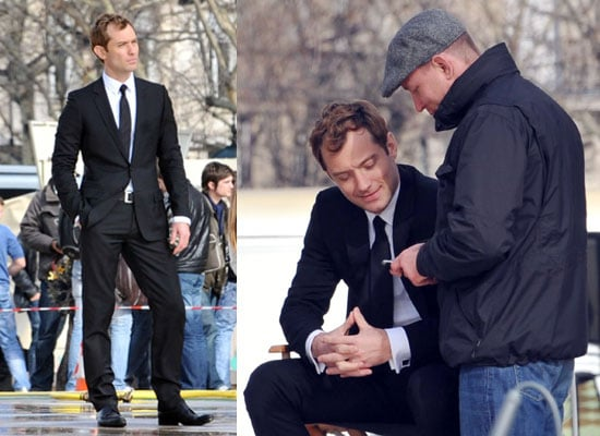 Photos of Jude Law and Guy Ritchie Filming Ad in Paris