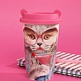 Mustard Sassy Cat Reusable Coffee Cup