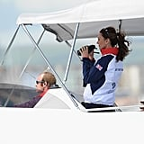 Kate Middleton watched Olympic sailing with Sir Timothy Laurence and Princess Anne.