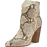 Vince Camuto Women's Creestal Almond Toe Snakeskin-Embossed Leather Booties
