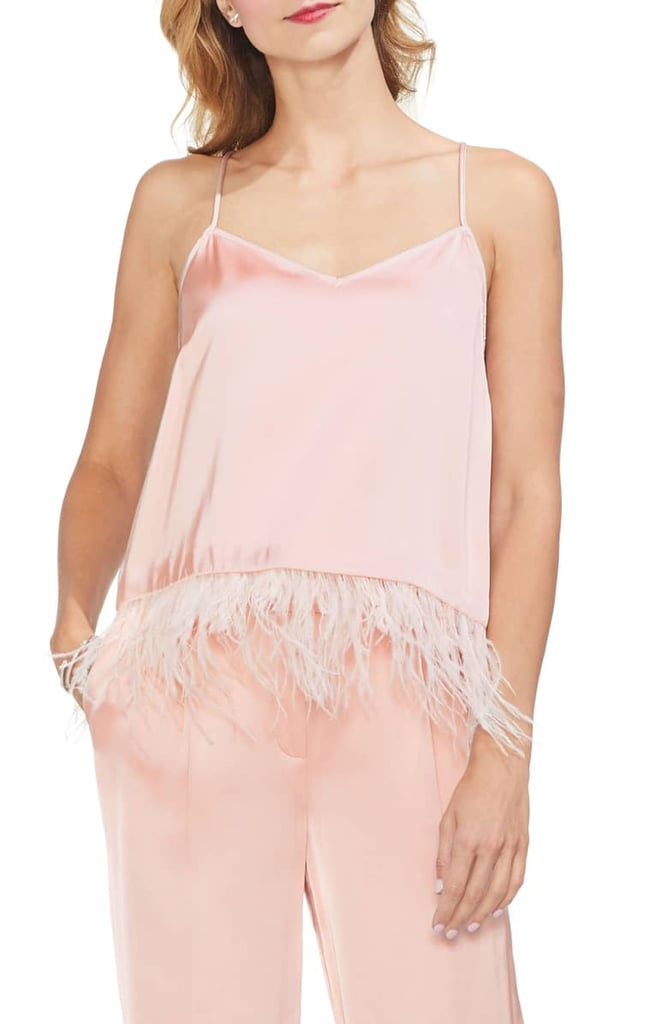 Vince Camuto Soft Satin Feather Detail Chiffon Camisole