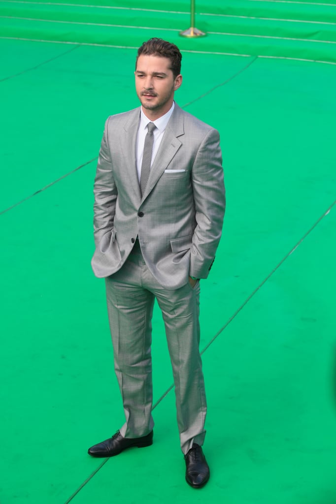 Leading man Shia LaBeouf looked dapper in his matching suit and tie.