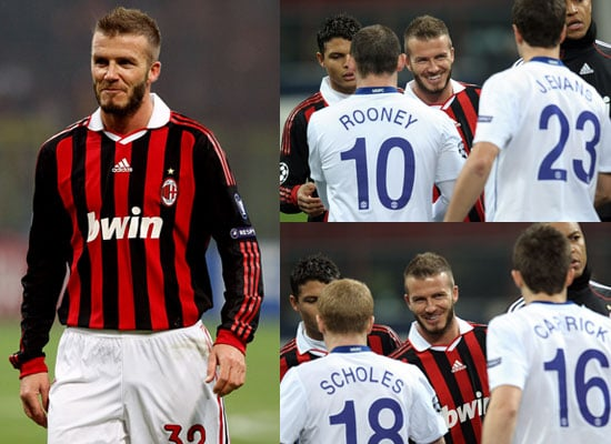 Photos of David Beckham Playing For AC Milan Versus Manchester United and Paul Scholes, Wayne Rooney, Rio Ferdinand