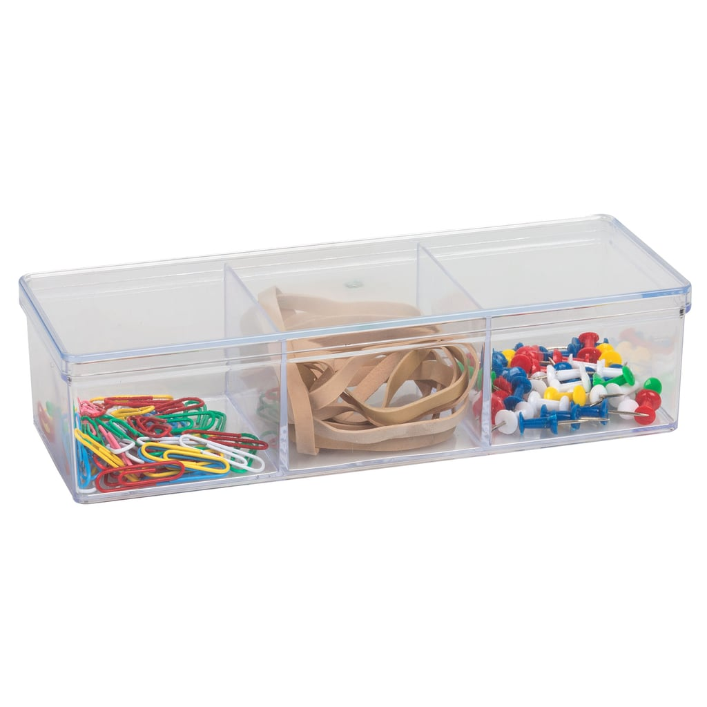 Clear Plastic 3-Compartment Storage Trays With Lids ($1 each)