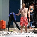 Prince William showed off his fit frame during a trip to Rodrigues Island in August 2004.