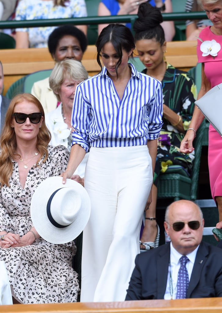 A Striped Button-Down and White Pants at Wimbledon in July 2018