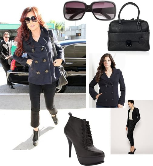 Copy Cheryl Cole's LAX Airport Style with Blue Double Breasted Coat and Lace Up Heels