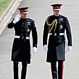 8:35 p.m. (11:35 a.m London, UK time)  Prince Harry and Prince William arrive wearing their Blues and Royals! They are on foot, walking through the Windsor Castle grounds, waving at the crowds. Harry has a beard (we likey), and is looking happy.