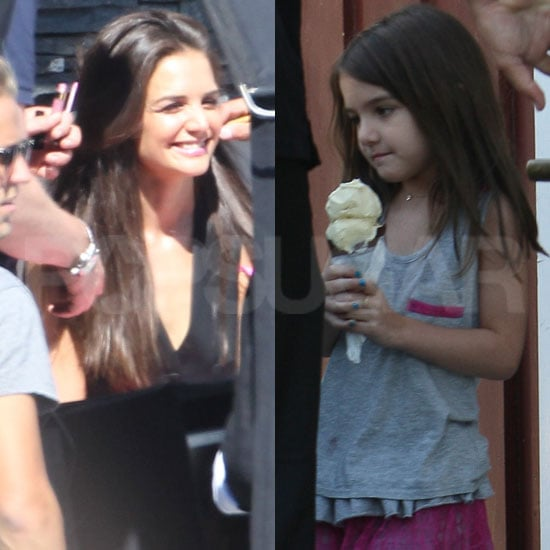 Katie Holmes Welcomes Ice Cream-Eating Suri and DJ Connor Onto the Set of Her Shoot