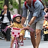 Jason Hoppy took his daughter, Bryn, for an NYC bike ride on Friday.
