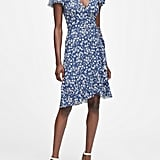Banana Republic Floral Soft Ponte Ruffle Wrap Dress
