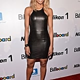 Ciara showed off her toned arms in a racerback-style Mason by Michelle Mason leather mini.
