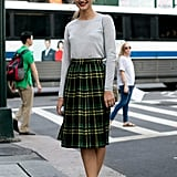 A school-girl inspired look, with not-so-school girl inspired footwear.