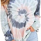 Canikat Women's Tie Dye Printed V Neck Hoodie
