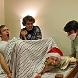 These roommates with their average Christmas card