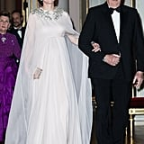 During day three of Kate and Prince William's visit to Sweden and Norway in February, the Duchess of Cambridge made her grand entrance in an Alexander McQueen gown. She wore the queen's sparkling pendant earrings along with the queen's bracelet.