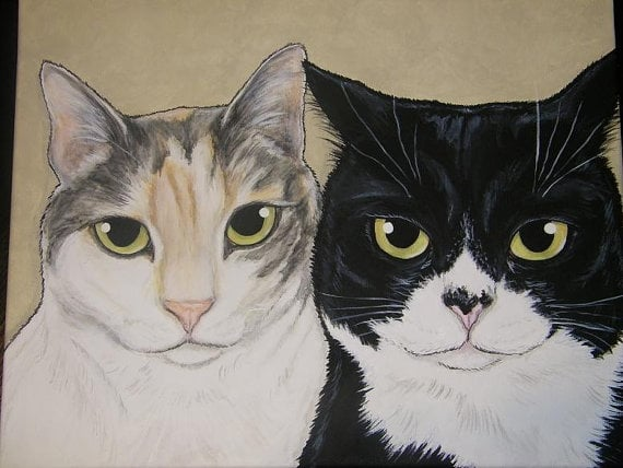 Etsy seller outtatheblue ($185) specializes in multiple-pet portraits, perfect for the cat lady who wants a group shot of all her babies.