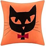 Halloween Black Cat Pillow — Orange ($27)