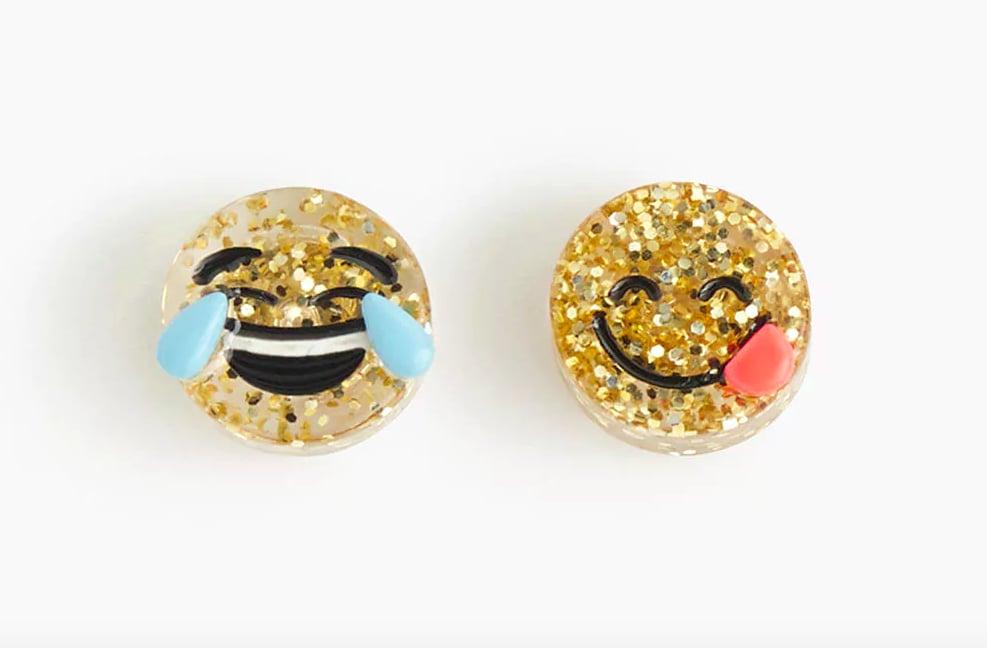 J.Crew Girls\' glitter emoji earrings | Emoji GIfts For Kids ...