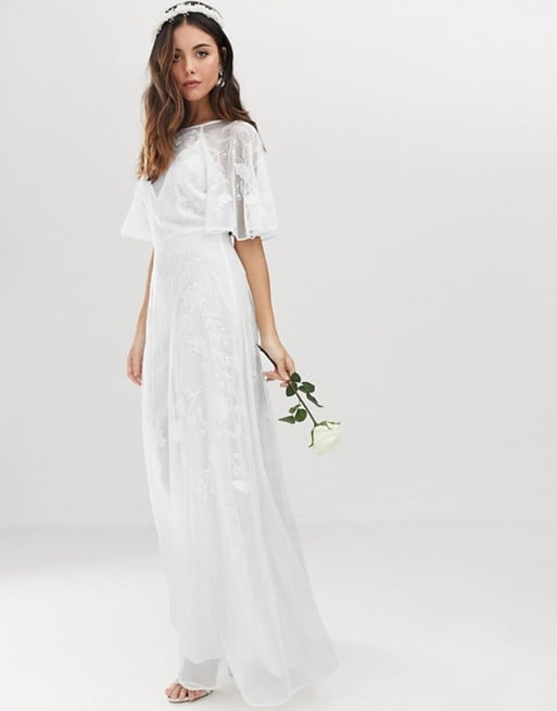 Asos Edition Embroidered Flutter Sleeve Wedding Dress