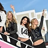 Alessandra Ambrosio, Lily Aldridge and Karlie Kloss boarded the Victoria's Secret jet with Elsa in 2014.
