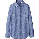 Polished and a little preppy, we love the bright blue hue of this Uniqlo chambray long sleeve shirt ($30).