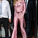 Only Gigi could rock this full-on Barbie pink look. The Kreist leather ensemble was paired with Aquazzura platform heels.