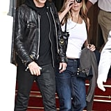 Jennifer Aniston and Justin Theroux left the Ritz Carlton Hotel.