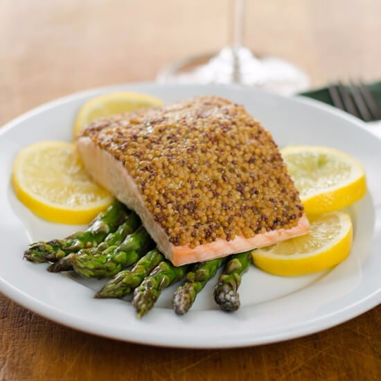 Mustard-Crusted Salmon With Roasted Asparagus
