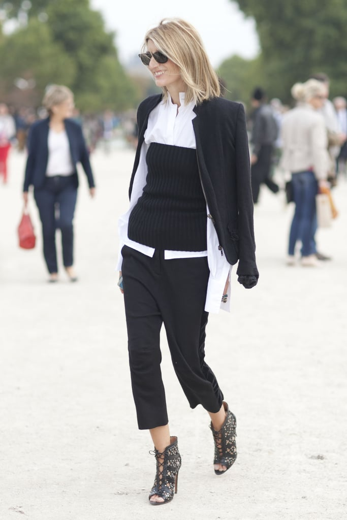 There's more than one way to wear a suit as Sarah Ruston proved, adding a knit tube top to layer over her button-down. The results screamed fashion-forward but still boardroom-appropriate.