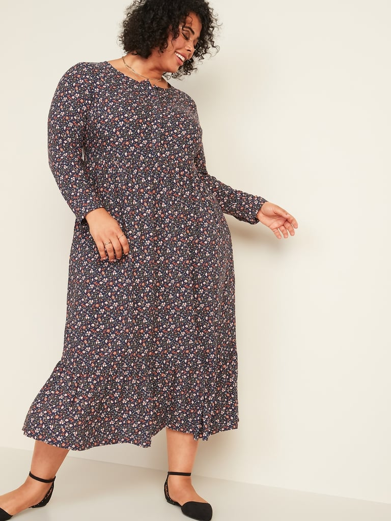 Old Navy Waist-Defined Floral-Print Button-Front Maxi Dress