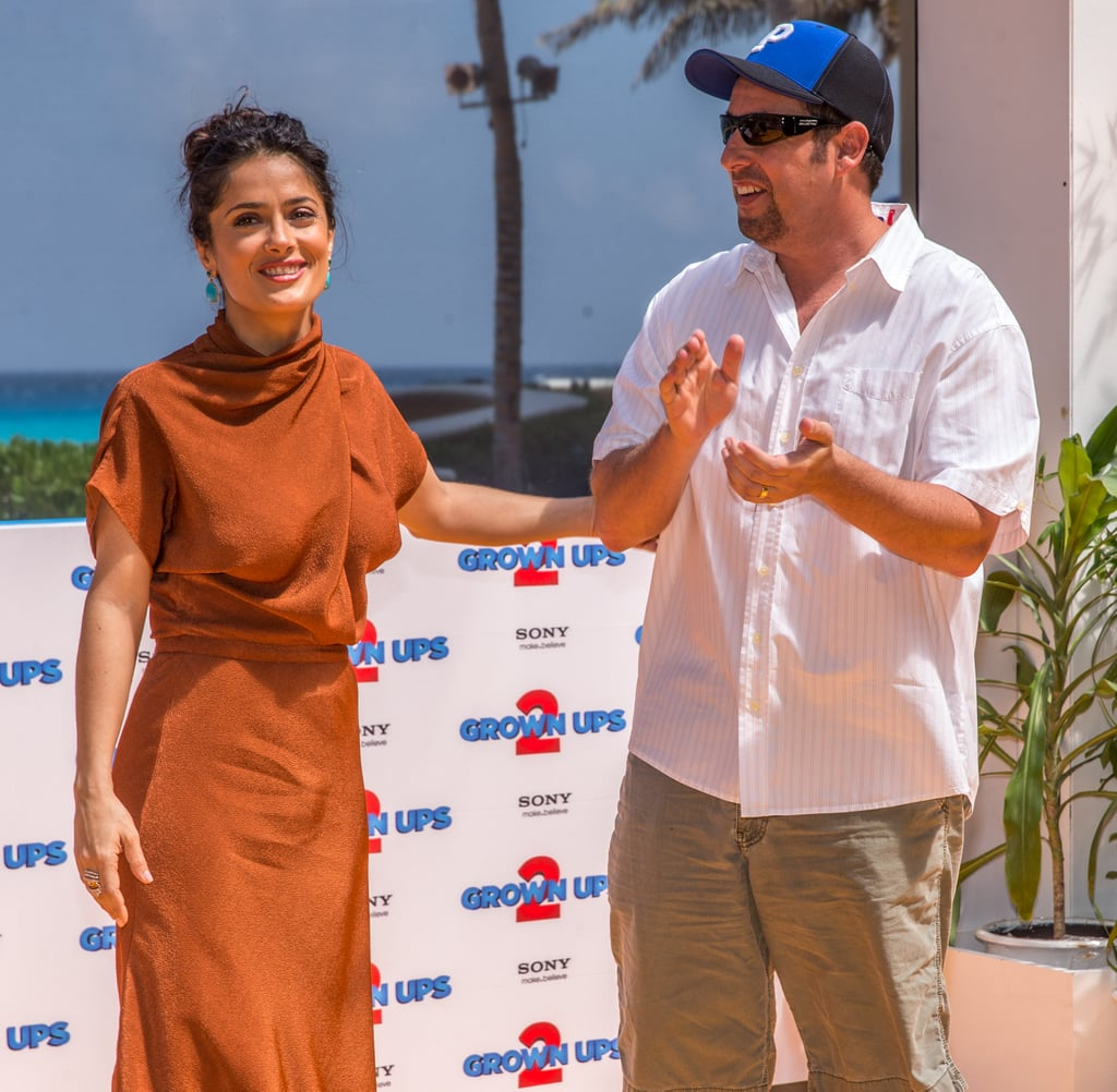 Salma Hayek and Adam Sandler promoted Grown Ups 2.