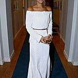 The Princess Is All About Elegance in an Off-the-Shoulder White Gown