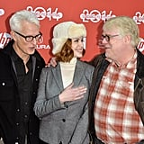 It was a Mad Men reunion for John Slattery and Christina Hendricks at their God's Pocket premiere with Philip Seymour Hoffman on Friday.