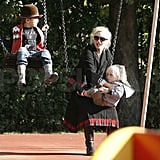 Gwen hit the swings with Zuma and Kingston.