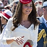 Kate wore a maple leaf hat.