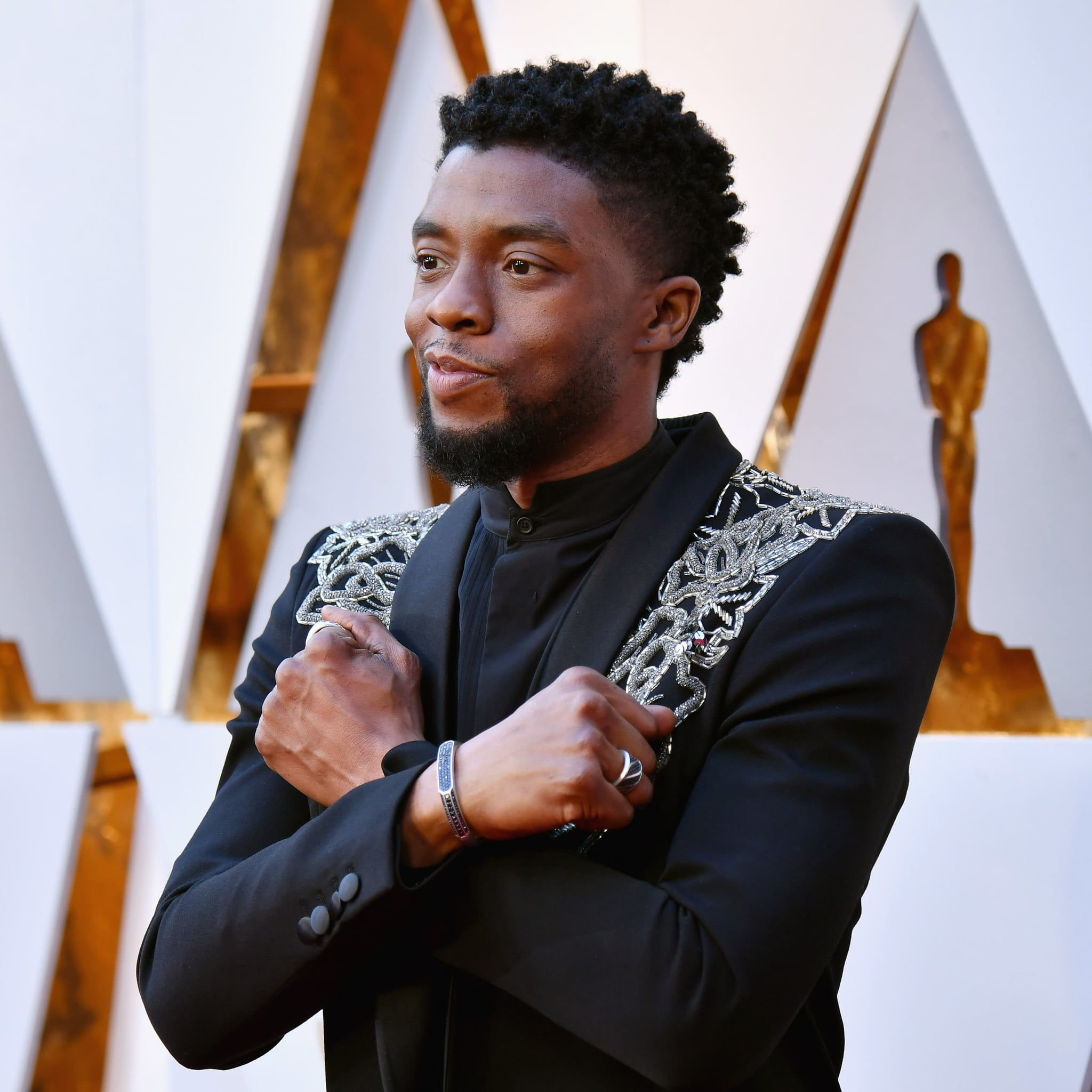 "Chadwick Boseman ""Wakanda Forever"" at the 2018 Oscars | POPSUGAR Celebrity"