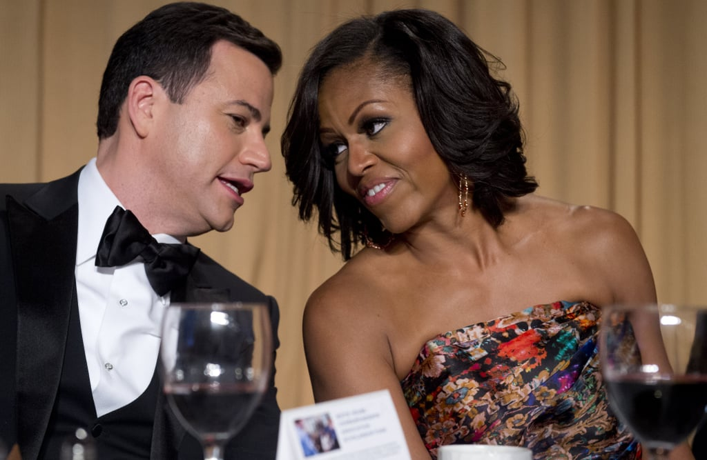 First Lady Michelle Obama and host Jimmy Kimmel chatted at the White House Correspondant's Dinner.