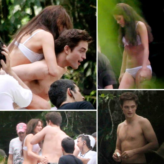 Pictures of Kristen Stewart in a Bikini With Shirtless Robert Pattinson For Breaking Dawn Honeymoon Waterfall Scene