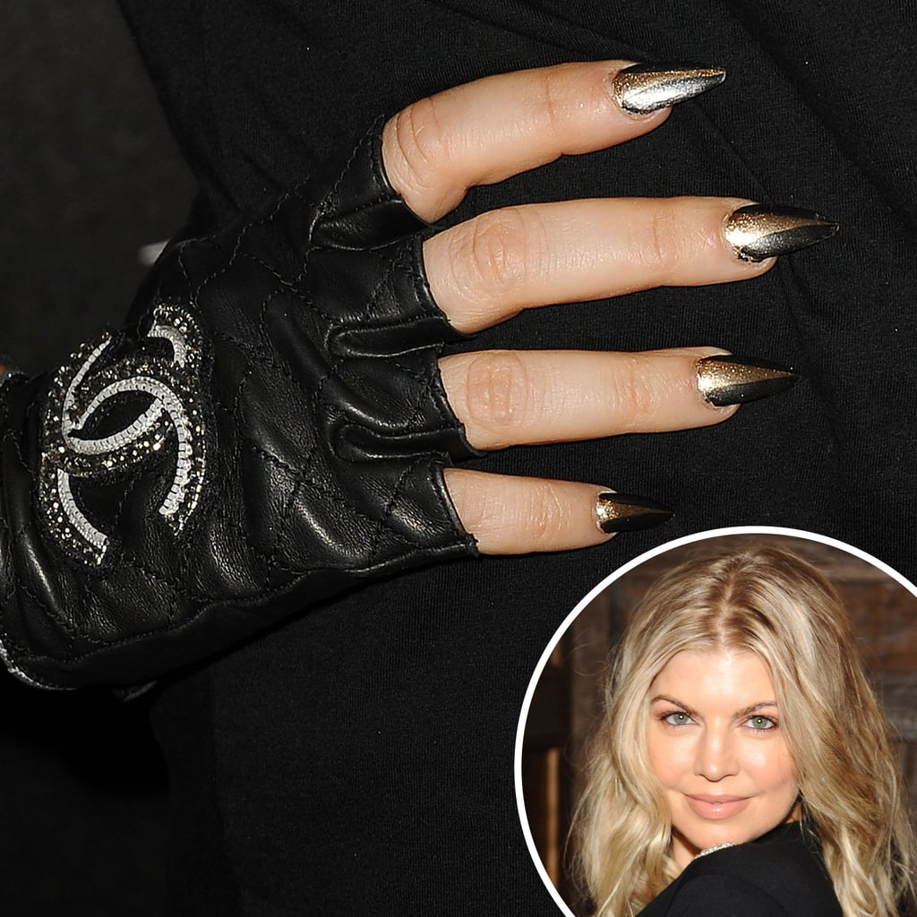 For her appearance at an event celebrating Sundance Channel's All on the Line series last year, Fergie complemented her Chanel gloves with triangular nail art.