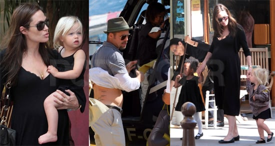 Angelina, Shiloh, Zahara, Maddox, Pax, and Brad in Monaco