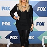 Demi Lovato took a tough approach to the red carpet at the Fox All-Stars party in her black leather leggings and matching blazer.
