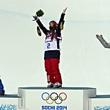 Team USA gold medalist Maddie Bowman looked to the sky while France's Marie Martinod and bronze medalist Ayana Onozuka of Japan looked on.