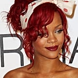 Rihanna's polka-dot scarf is a great alternative to sparkly hair accessories.