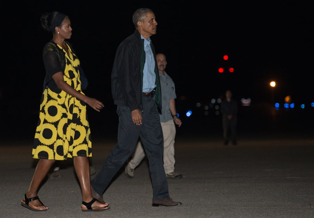 Michelle wearing a yellow graphic patterned dress in Cape Cod.