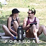 Jennifer Lawrence and Nicholas Hoult shared a laugh at a park in Montreal.