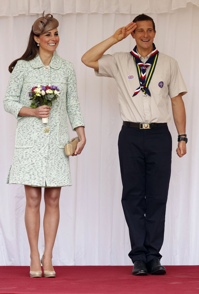 Kate Middleton donned a mint Mulberry coat when she stood alongside Bear Grylls to review the Scouts at Windsor Castle on behalf of the queen in April 2013.