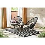 Hampton Bay Dark Gray 3-Piece Steel Papasan Rope Outdoor Patio Conversation Seating Set