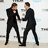 Tom fake fought with Chris Hemsworth.